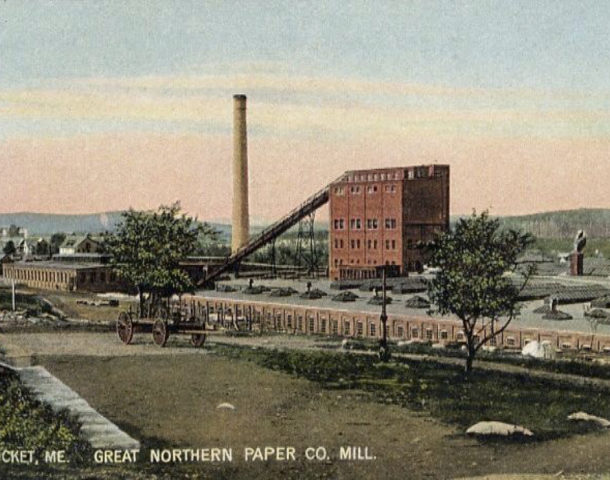 Great Northern Paper Company Mill in Millinocket Maine (Postcard 1906)